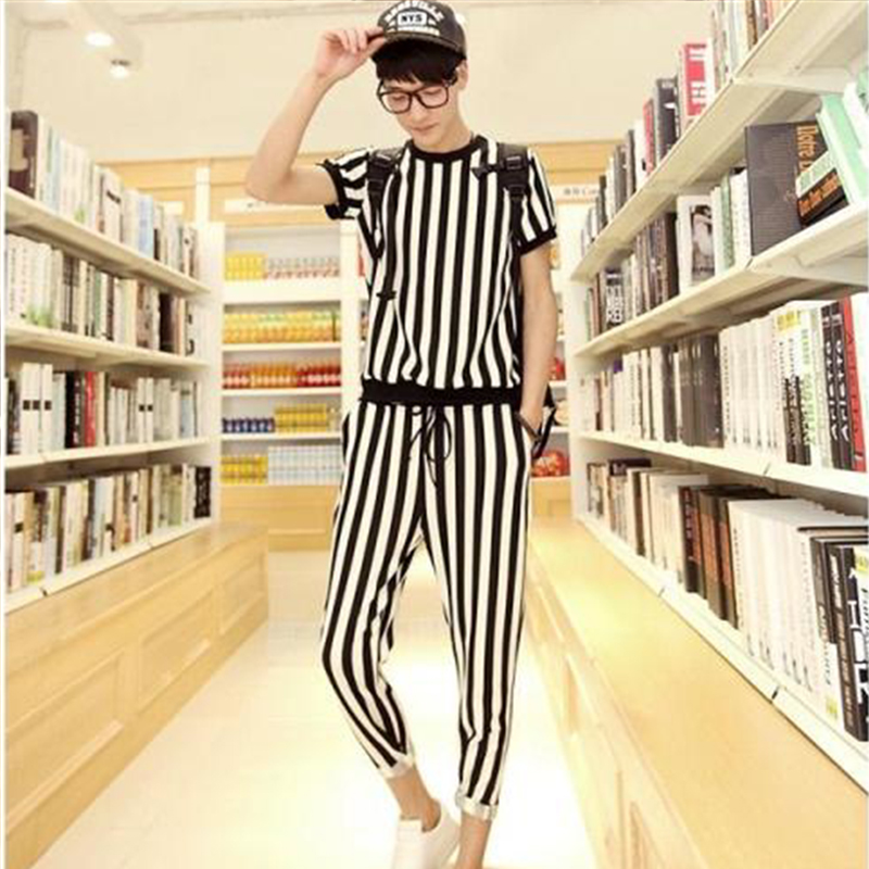 Men's Short-sleeved Suit Vertical Stripes Couple Suit Summer Suit Hong Kong Style T-shirt Male Was Thin Temperament Male God Fan