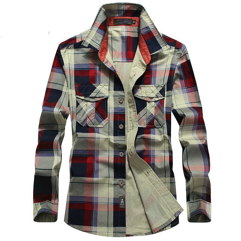 Plaid Shirt Men 100% Cotton Spring Summer Autumn Long Sleeve Denim Pockets Mens Shirts Camisetas hombre Plus Size 4XL