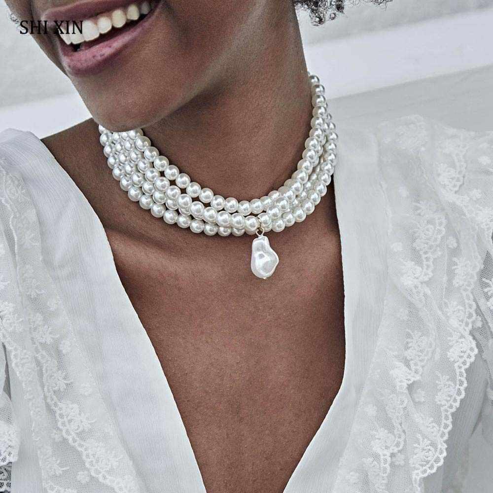 2019 nowa moda wielowarstwowe imitacja białej perły Choker z metalowym kawałek mocowania szeroki naszyjnik na szelkach biżuteria dla kobiet urok
