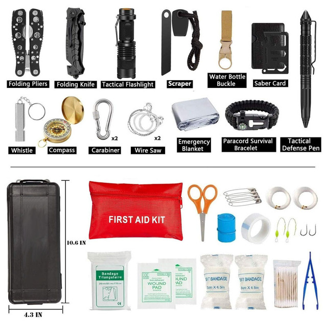 Emergency Survival Kit 36 in 1 SOS,EDC Blanket Knife Flashlight Pliers Wire Saw for Wilderness Camping First Aid for Earthquake 2