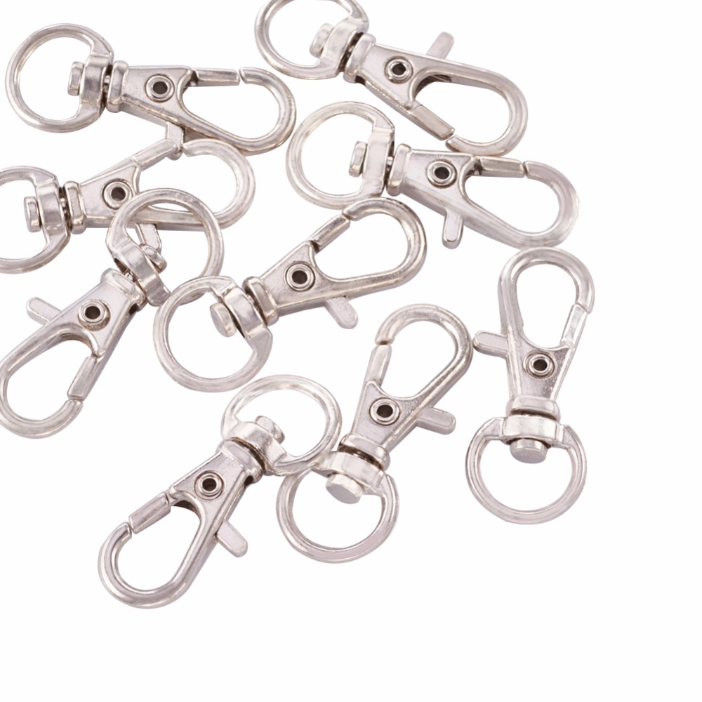 100pcs Alloy Swivel Lanyard Snap Hook Lobster Claw Clasps Jewelry Making Supplies Bag Keychain DIY Accessories About 32.5x11x6mm