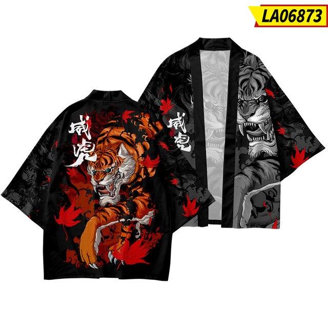 Мужской халат кимоно с рисунком в японском стиле 3