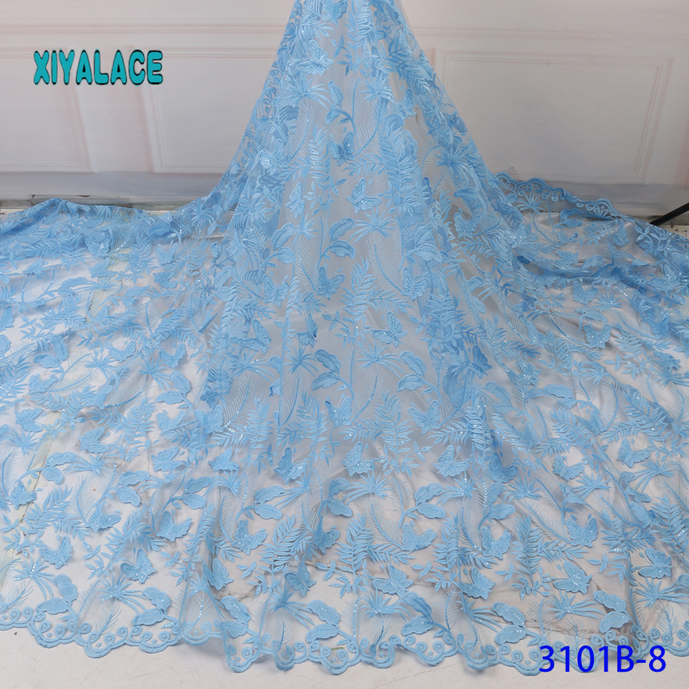 African Lace Fabric 2019 High Quality Stones With Embroidery Nigerian Lace Fabric For Women French Mesh Lace Fabric YA3101B-8