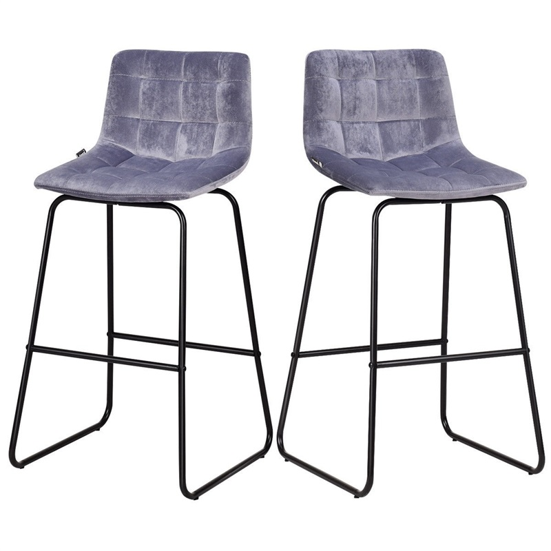 Set Of 2 Velvet Bar Stools Pub Kitchen Iron Chairs High Chair Simple Counter Stool Bar Stools For Home HW59508