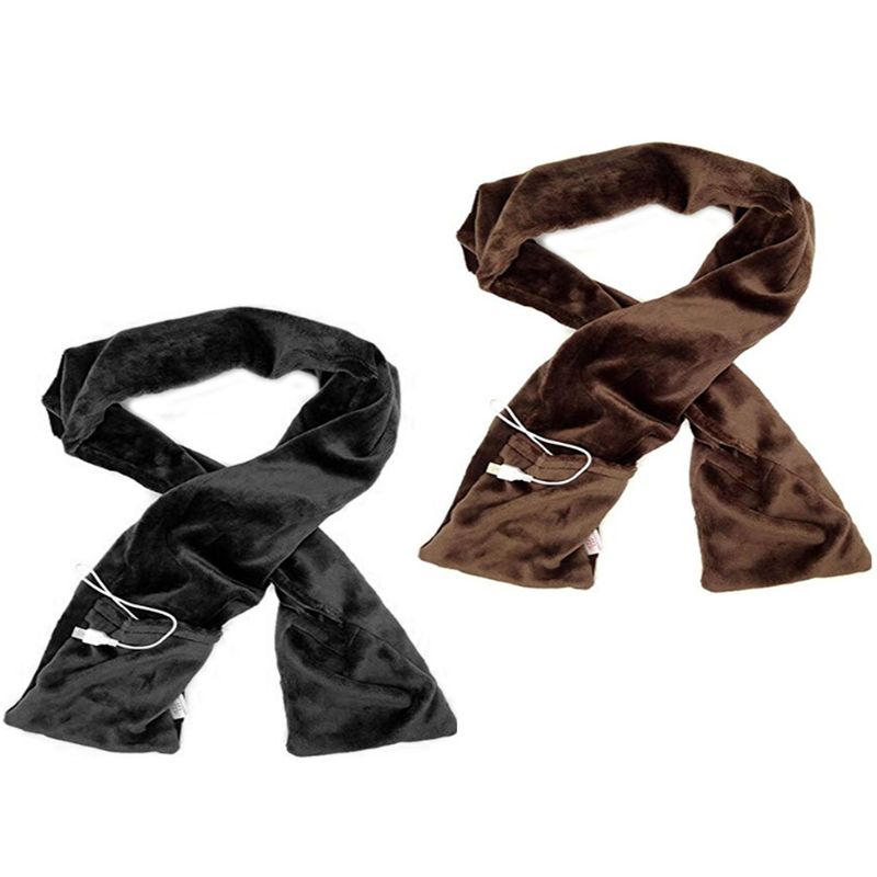 Electric USB Powered Winter Heated Long Scarf With Heating Pad Neck Warmer Soft Shawl Wraps With Pockets Portable