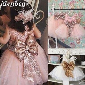 Menoea Chidren Princess Dress 2020 Summer Style Girl's Bow Design Party Dresses Kids Ball Gown For Girl Mesh Wedding Dress(China)