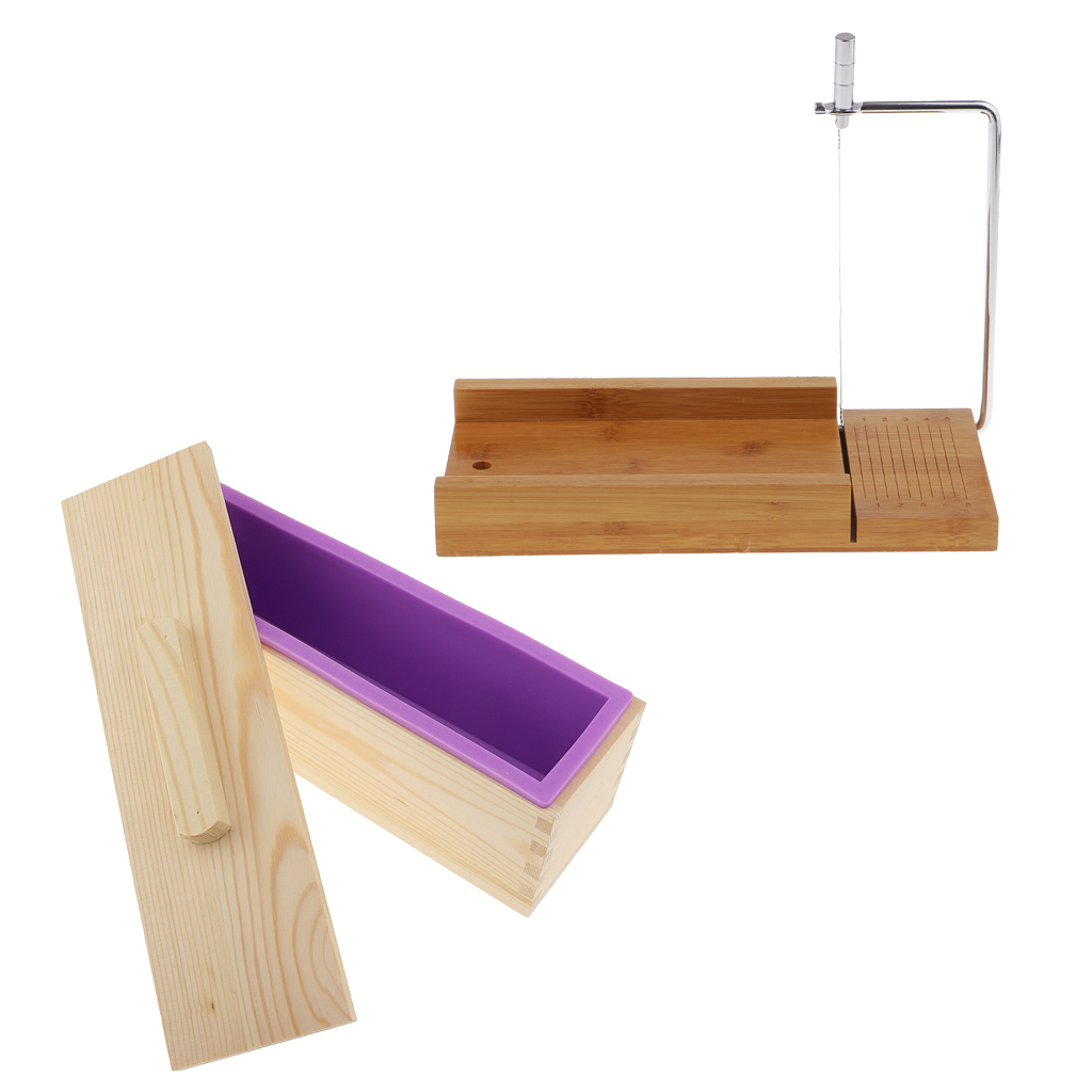 Wooden Box, Silicone Soap Loaf Mold and Soap Cutter Wire Slicer, for DIY Soap/Cake/Chocolate Making Tools