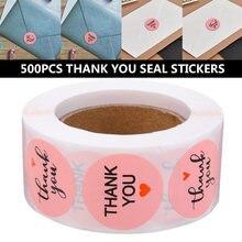 500 шт/рулон Розовый Круглый Спасибо diy стикер s этикетки коробки