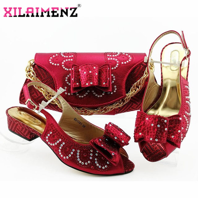 Red High Quality African Woman Sandals Shoes With Purse Set Italian Elegant High Heels Shoes And Bag Set For Wedding Party