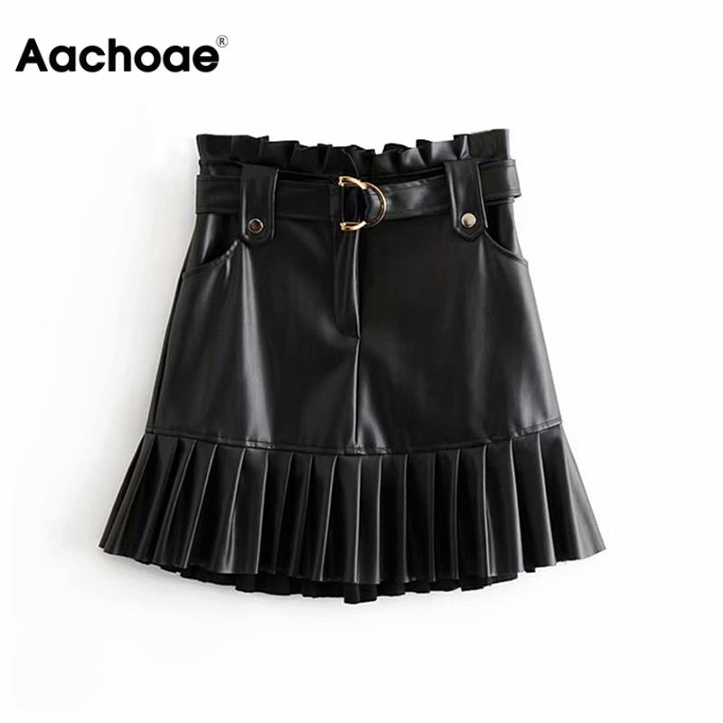 Aachoae Women Black PU Leather Skirt With Belt Fashion Streetwear Ruffles Pleated Mini Skirts A-line Party Club Sexy Short Skirt