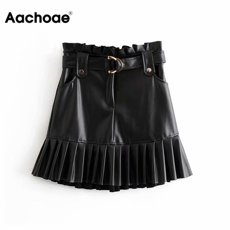 Women Black PU Leather Skirt With Belt Fashion Streetwear Ruffles Pleated Mini Skirts A-line Party Club Sexy Short Skirt
