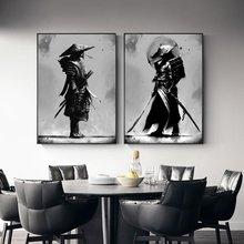 Preto e branco japão samurai retrato arte da parede bushido quadros em tela guerreiros japoneses posters para sala de estar