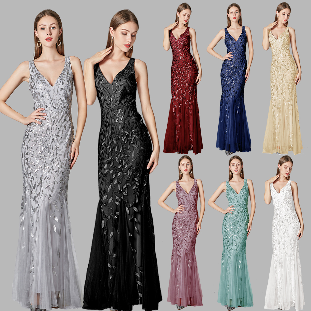 2019 Silver Gray Elegant Fashion Evening Dresses Sexy Simple V Collar Open Back Sleeveless Embroidered Beads Fishtail Dress Gown