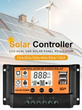 Hot Sale! MPPT 10A/20A/30A/40A/50A/100A Auto Solar Charge Controller LCD Dual USB Solar Panel Regulator support dropshipping 10pcs lots solar charge controller 30a mppt pwm voltage settable lcd dispaly light and dual timer control 30a 12v 24v auto work