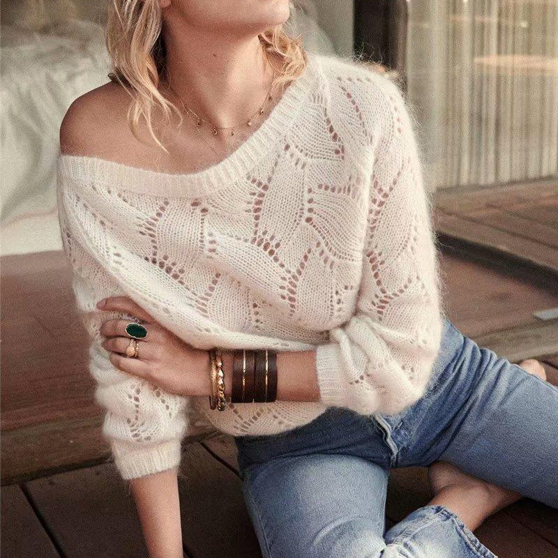 KHALEE YOSE White Chic Mohair Pullover Sweater Autumn 2019 Long Sleeve Hollow Out Sweater O-neck Casual Pullovers Women Jumper