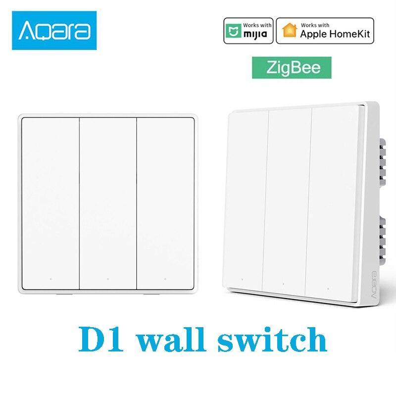Aqara Wand Schalter D1 Zigbee Smart Null Linie Feuer Draht Licht Fernbedienung Wirelss Schlüssel Wifi Schalter Ohne Neutral utral mi Hause