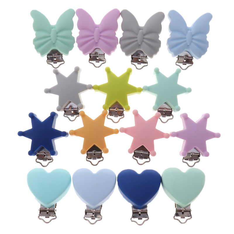 ATOB10pcs Silicone Metal Pacifier Clips Holders Baby Accessories Heart Baby Teething Necklace Clip Childen's Goods Nipple Holder