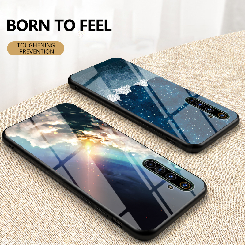 <font><b>Phone</b></font> Case for <font><b>OPPO</b></font> <font><b>Realme</b></font> X50 Pro 5G Case Cover Glossy Starry Sky Tempered Glass Shockproof Cover for <font><b>OPPO</b></font> <font><b>Realme</b></font> <font><b>X</b></font> 50 Coque image