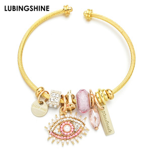 2019 New Stainless Steel Bracelet Crystal Evil Eye Pendant Enamel Unicorn Charms Bracelet for Women Girls Cuff Open Jewelry(China)