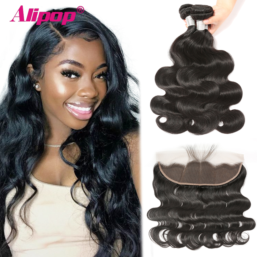 Body Wave Bundles With Closure Brazilian Human Hair 3 Bundles With Frontal 13x4 Ear To Ear Remy Human Hair Weave Black ALIPOP