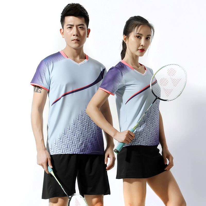 Camisas e Shorts Masculino e Feminino Saia de Tênis Ternos de Treinamento Badminton Manga Curta Agasalho Peteca Camisa Esportiva Mod. 344526