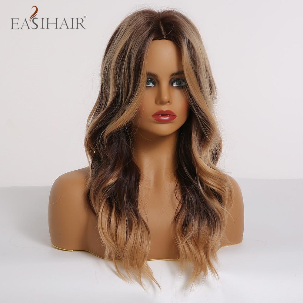 Easihair longo ondulado marrom perucas com loira