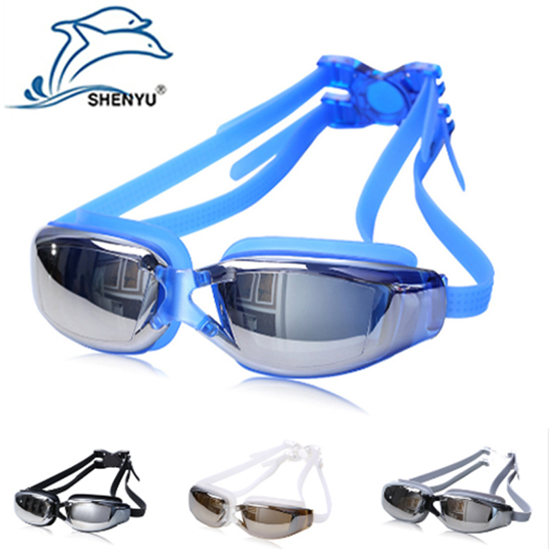 SHENYU Swimming Goggles Waterproof Anti-Fog Anti-UV Swimming Goggles Swimming Glasses Men's WOMEN'S Big Box Electroplated 9011