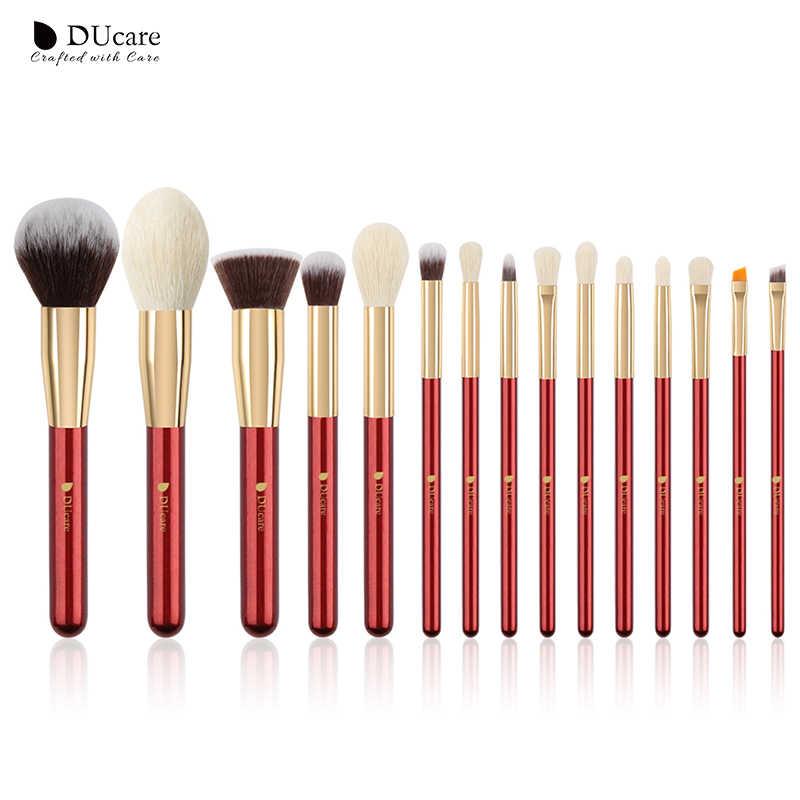 Ducare pinceis de maquiagem pérola branca/vermelha/preta, conjunto de pincéis de maquiagem profissional, cerdas naturais, base, pó blush