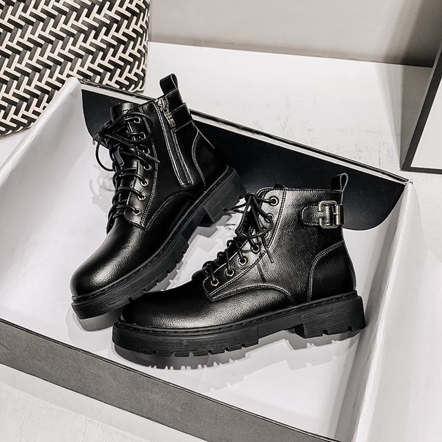 Spring Martin Ankle Boots Footwear Women color: Black