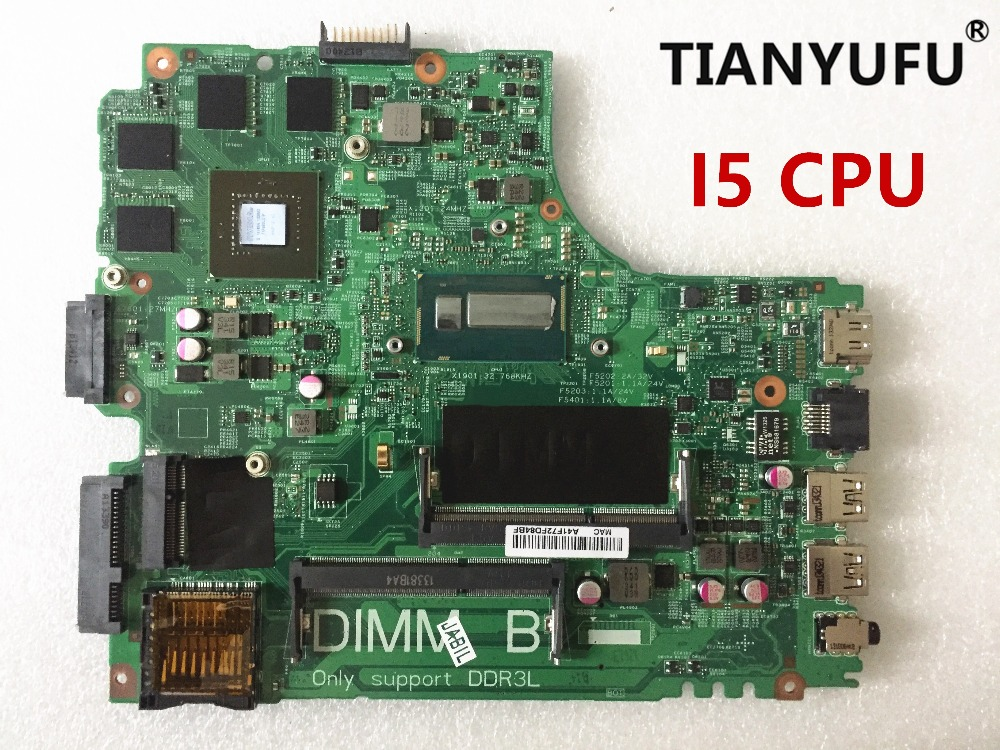 12307 2 for dell Inspiron 3437 5437 laptop motherboard DOE40 HSW GDDR5 12307 2 DDR3L With i5 CPU Motherboard tested 100% workMotherboards   -