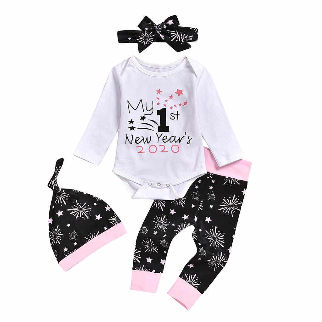 Moda niemowlę dziecko dzieci dziewczyny ubrania nowy rok nadrukowane litery Romper kombinezon spodnie kapelusze Hairband 4 sztuk stroje dla dzieci zestaw