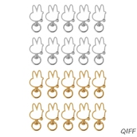 10Pcs Cute Rabbit Keychain Metal Swivel Lobster Clasp Snap Hook Jewelry Findings