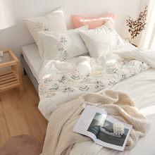 100% algodão beleza jogo de cama capa edredão branco super macio conforto ww78 #