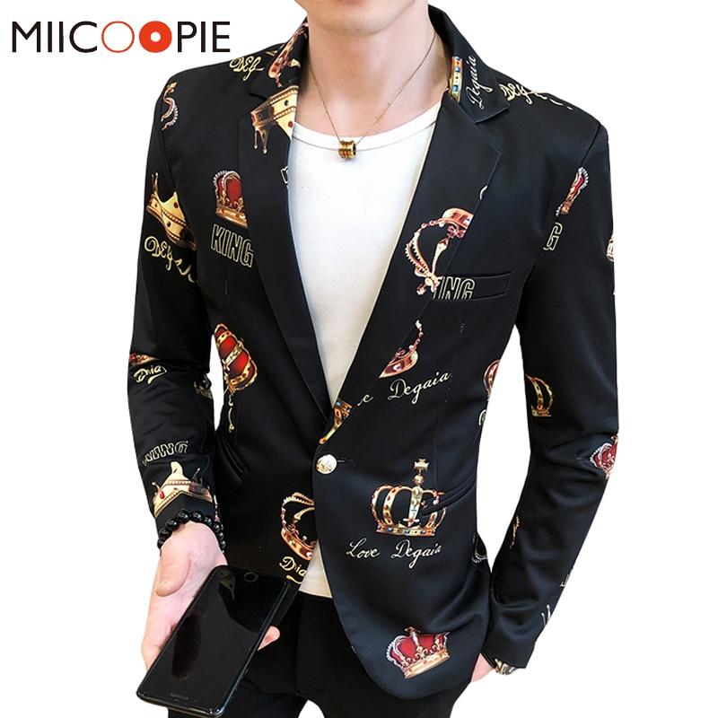 Brand Men Blazer Casual Suit Jacket 3D Royal Crown Print Slim Fit Tuxedo Blazer Hombre Asian Size Nightclub Stage Streetwear 3XL