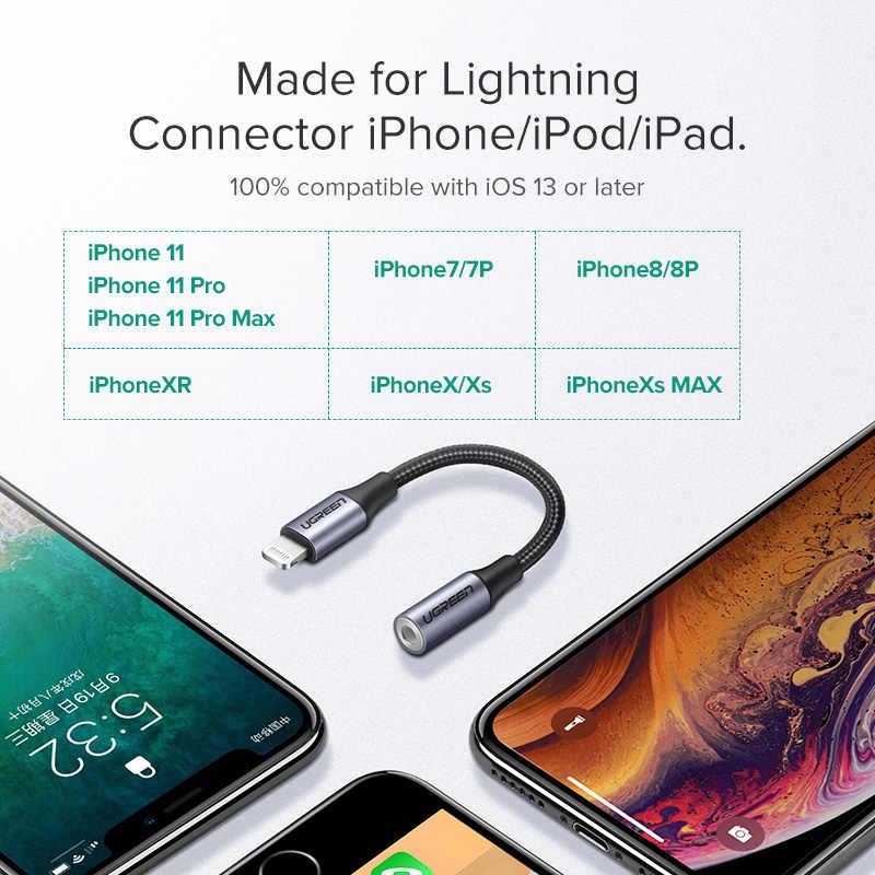 Ugreen MFi błyskawica do 3.5mm Jack przewód aux dla iPhone 11 Pro X XS XR 8 7 3.5mm błyskawica 3.5 słuchawki adapter audio Splitter