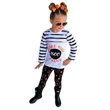 Baby Halloween Costume Toddler Kids Girl Stripe T shirt Pumpkin Pants Outfits Set