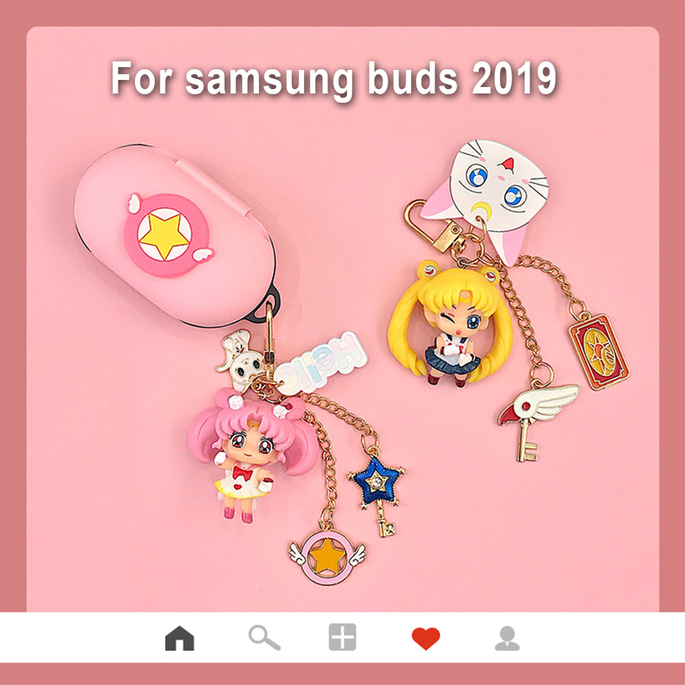 Cute Silicone Cover For Samsung Galaxy Buds 2019 Case Charging Box Sleeve Protect Case Bluetooth Earphone Skin Cartoon Girl Bag