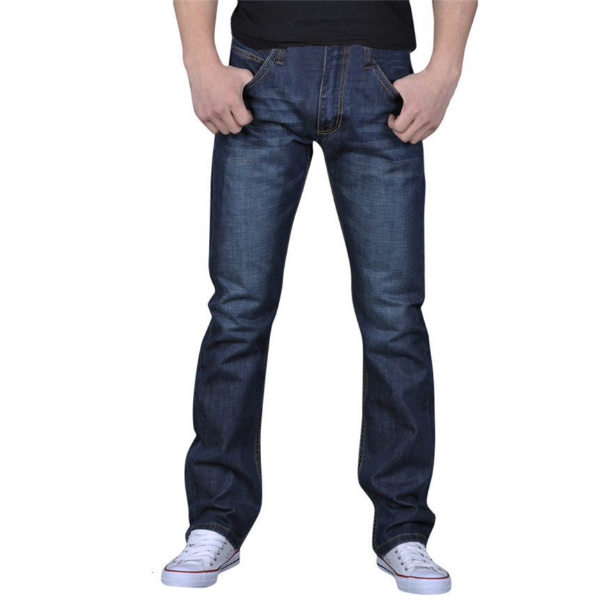 Slim Fit Denim Scratched High Quality Men's Pure Color Denim Cotton Vintage Wash Hip Hop Work Trousers Jeans Pants More Sizes