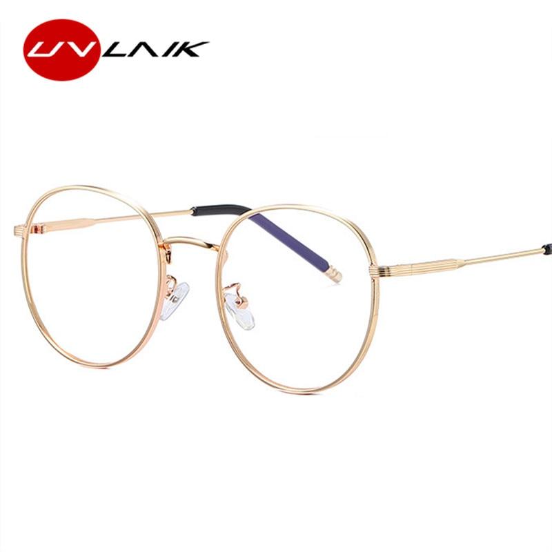 UVLAIK Vintage Round Glasses Frames Women Men Clear Optical Spectacles Mirror Eyeglasses Frame Laidy Transparent Eyewear