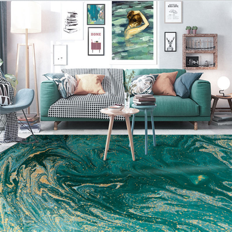 Carpets For Living Room Christmas Rug Abstract Sea Water Green Gold Pattern Carpet Nordic Decoration Home Baby Floor Mat