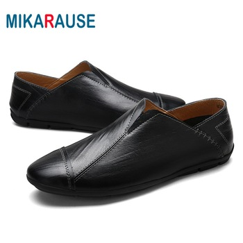 Mikarause New Man Casual Shoes Fashion Leather Loafers Zapatos De Hombre Summer Breathable Soft Moccasins Flats Driving Shoes