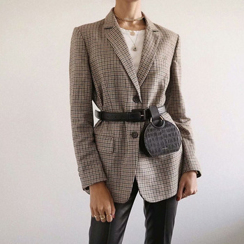 2020 Retro Single Breasted Blazer Women Fashion Houndstooth Plaid Long Sleeve Suit Notched Collar Office Lady Jacket Outwear women notched flare sleeve plaid print blazer short casual basic work single button office business blazer outwear british style