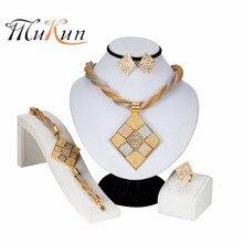 цена на Classic Big Necklace Crystal Pendant Nigeria Jewelry Sets for Women Wedding Jewelry Set Bride Necklace Earrings Ring Bracelet