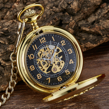 Golden Vintage Automatic Mechanical Carved Pocket Watch Steampunk Skeleton FOB Chain Hand Winding Hollow For Men Women golden black sliver antique hollow automatic mechanical pocket watch fob chain hand winding full steel sculpture for men wome