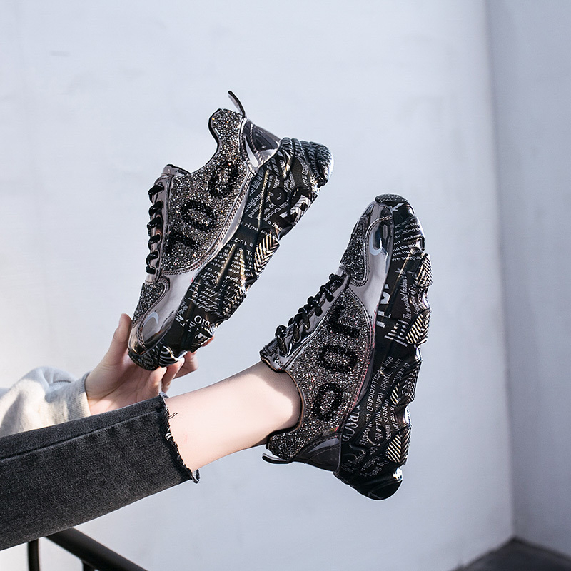 2020 Designers Women Chunky Sneakers Platform Shining Fashion Old Dad Shoes Ladies Sports Lace Up Casual Vulcanized Shoes Woman