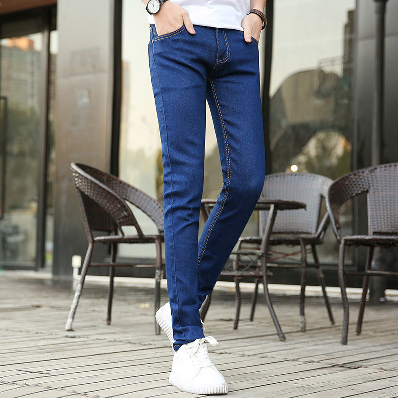 Man Stretch Jeans Male Bound Feet Pants Teenagers Elastic Force Trend Denim Pants Men's Brand Fashion Clothing Joggers