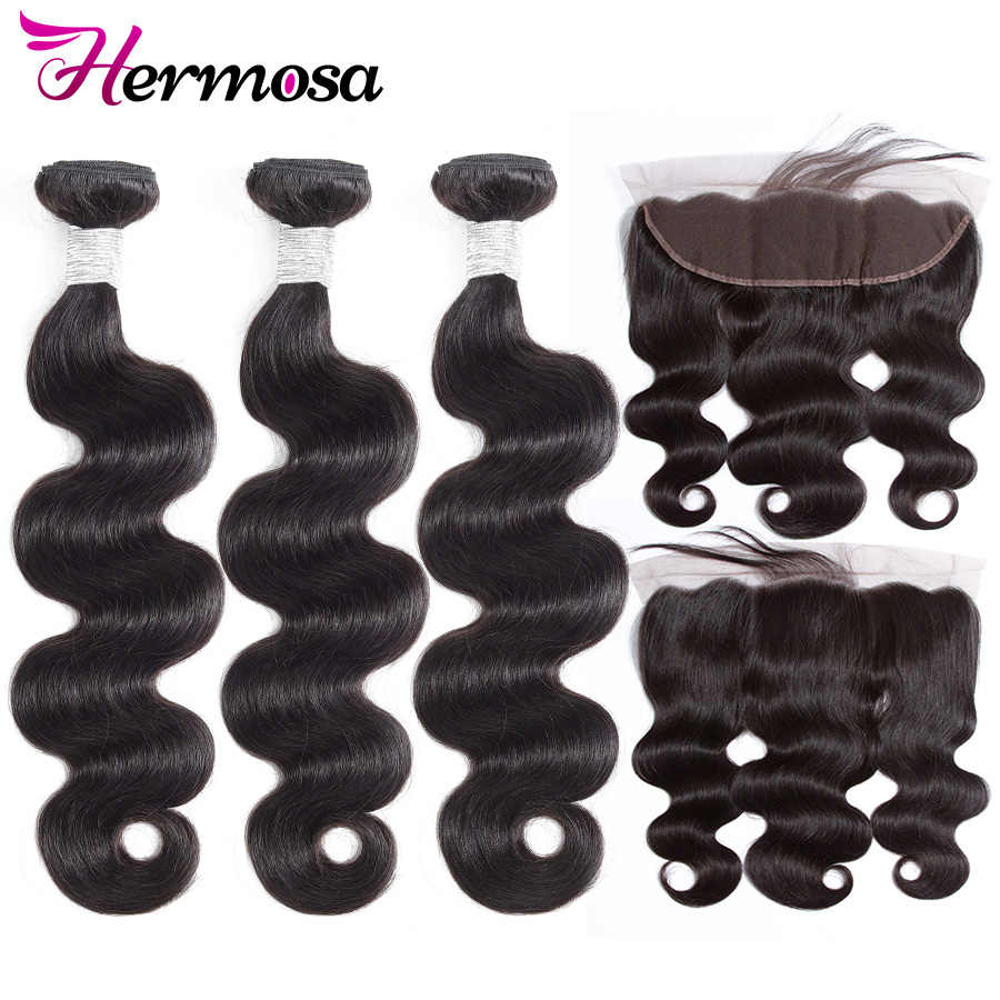 Hermosa Human Hair 3 Bundles With Frontal Closure Brazilian Hair Body Wave 13x4 Ear to Ear Lace Frontal Closure With Bundles