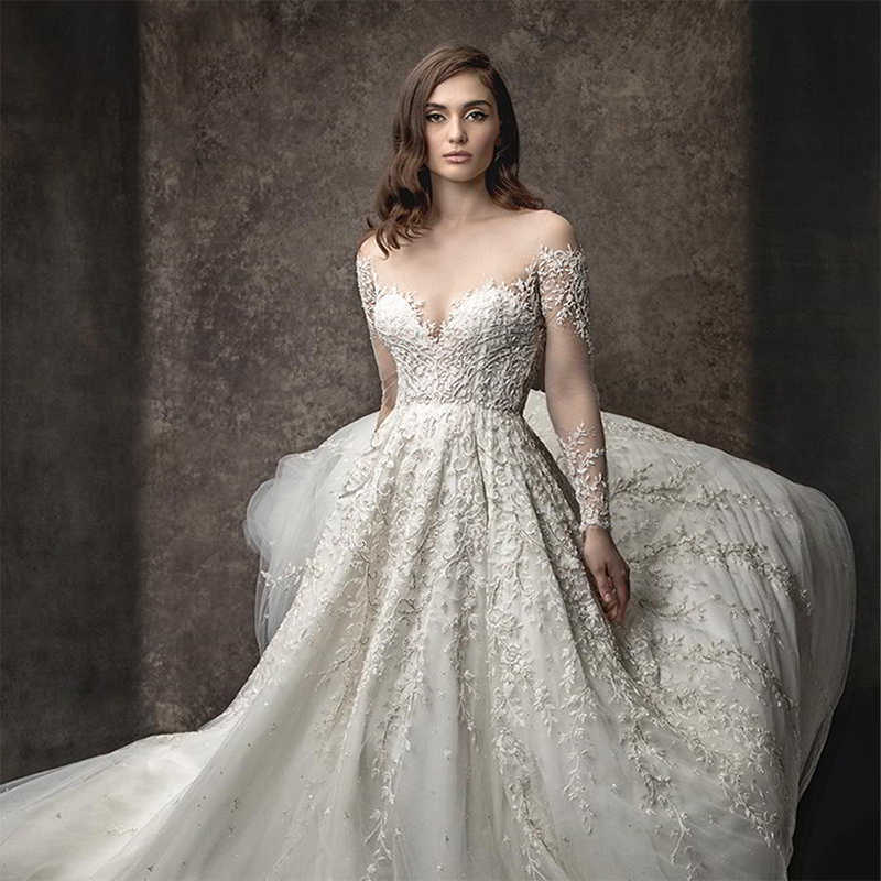 Custom made  wedding dress Long Sleeve luxury ball gown lace wedding dress