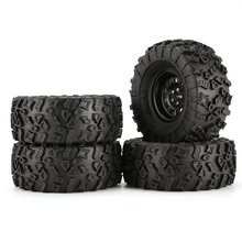 4pcs 130mm 2.2in Rubber Tire with Alloy Beadlock Wheel Rim for  AXIAL SCX10 90046 RC4WD D90 1/10 RC Rock Crawler Car 4pcs metal wheel rim beadlock wheel hub 1 55 inch rc car aluminum alloy black wheel rim for 1 10 rc crawler car model toy