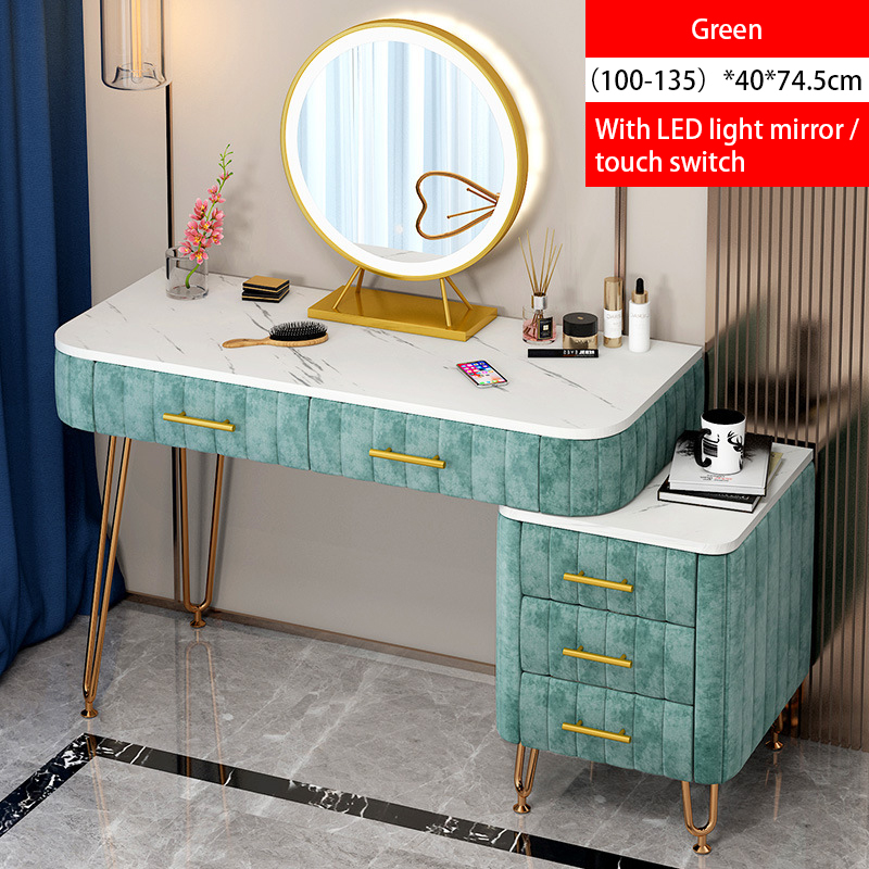 Luxury Dressing Table With Mirror Vanity Makeup 4 Colors Artificial Marble Velvet Drawers For Mirrored Dresser Furniture Bedroom 22